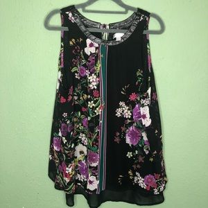 Bisou Bisou Floral Tank with Faux Leather Neckline